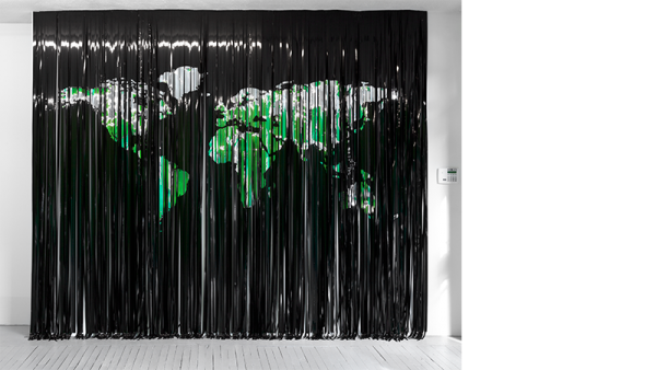 Map Curtain, Liz Magic Laser, 2013, mylar, vinyl and fabric, 108 x 132 in., edition of 3, installation view, Paula Cooper Gallery, New York.