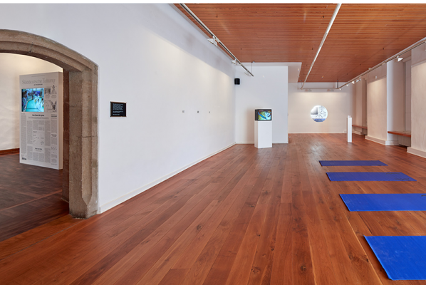 Identification Please, Liz Magic Laser, 2016, newspaper and video installation, installation view with Identification Please (meditation tape), 2016, audio track and yoga mats. Music composed by Mati Gavriel, Kunstverein Göttingen, Germany.