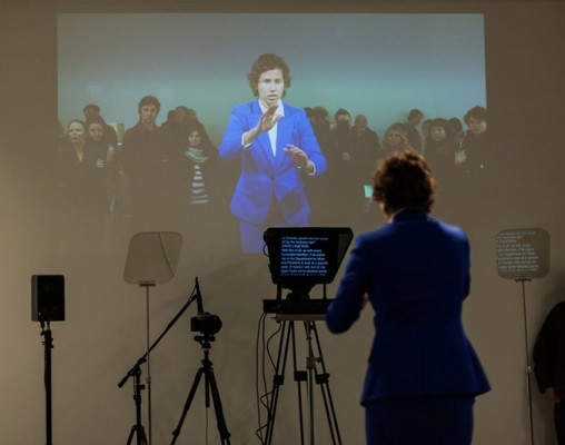 Stand Behind Me, Liz Magic Laser, 2013, performance and two-channel video, 10 minutes, production still, Lisson Gallery, London, UK. Featuring dancer Ariel Freedman.