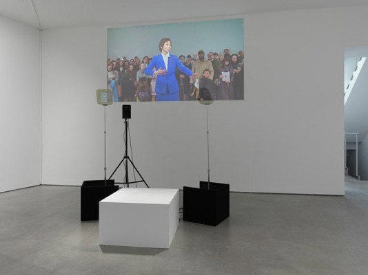 Stand Behind Me, Liz Magic Laser, 2013, performance and two-channel video, installation view, Lisson Gallery, London, UK.