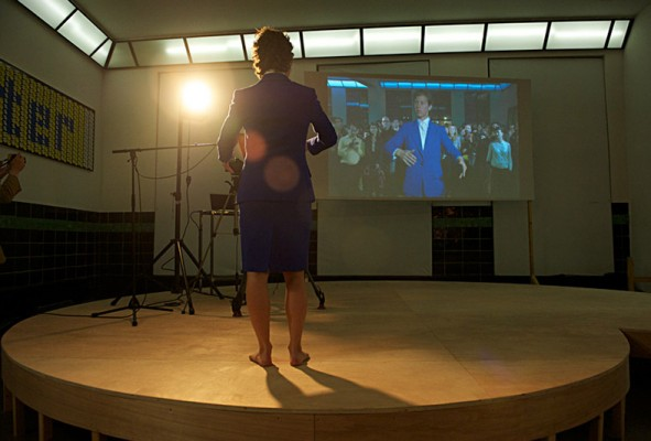 Stand Behind Me, Liz Magic Laser, 2013, performance, 10 minutes, production still, Wiels Contemporary Art Center, Brussels, Belgium. Presented at Experienz #2. Featuring dancer Ariel Freedman. Photo: Cici Olsson.