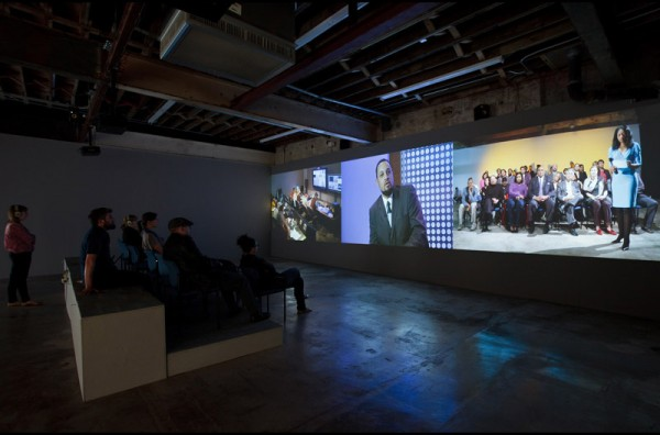 Tell Me What You Want to Hear, Liz Magic Laser, 2013, performance and three-channel video, installation view, DiverseWorks, Houston, Texas.