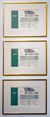 Share in The Armory Show, Liz Magic Laser, 2013, Vornado Reality Trust share certificate issued to Liz Magic Laser in gold frame (Ownership of share to be transferred to buyer).13 x 16 inches (33 x 40.6 cm)Unique, Signed.