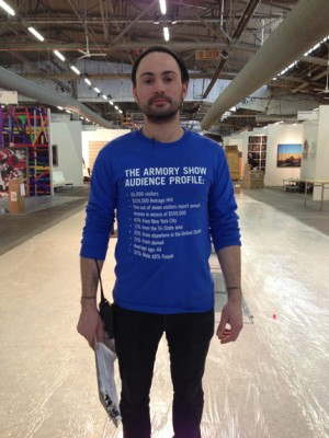 The Armory Show Focus Group (Staff T-Shirt), Liz Magic Laser, 2013.