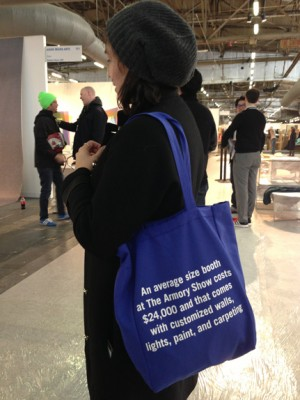 The Armory Show Focus Group (Jack Spade Tote Bag), Liz Magic Laser, 2013.