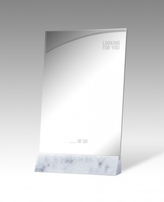 LOOKING FOR YOU (Desktop Trophy), Liz Magic Laser, 2013, two-way mirror plaque on Thassos marble base, 13 x 9 x 1.5 in., edition of 20.