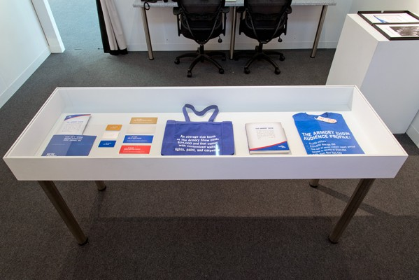 The Armory Show 2013 Visual Identity, Liz Magic Laser, 2013, signed Artist Proofs of The Armory Show VIP paraphernalia, 72 x 36 x 54 inches, installation view.