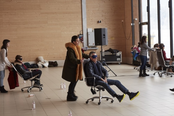User Friendly, performative workshop, Liz Magic Laser, Cori Kresge and Hanna Novak. Performed by Cori Kresge at Gstaad Saanen Airport as part of Elevation 1049: Frequencies produced by Luma Foundation, Gstaad, Switzerland, 2019. Photo: Torvioll.
