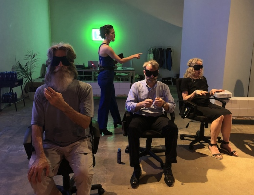 User Friendly, performative workshop and audio installation, Liz Magic Laser, Cori Kresge and Hanna Novak. Performed by Cori Kresge at Goethe Pop Up Minneapolis, Goethe in the Skyways, curated by Sandra Teitge, 2019.